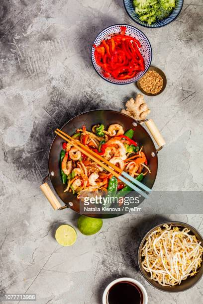 directly above shot of food served in container - asian food stock pictures, royalty-free photos & images
