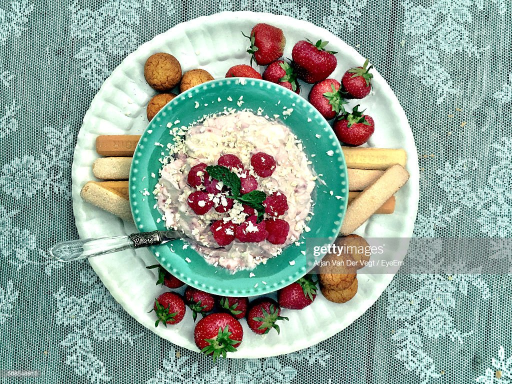 Directly Above Shot Of Food Served In Plate On Table : Stock Photo
