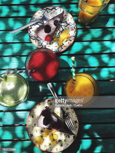 directly above shot of food served on table - cascais stock photos and pictures
