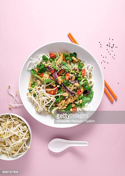 directly above shot of foods served on pink table - bean sprout stock pictures, royalty-free photos & images