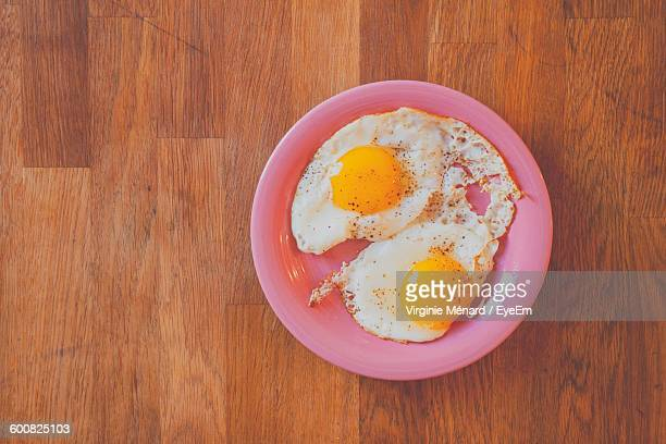 Directly Above Shot Of Fried Egg On Table