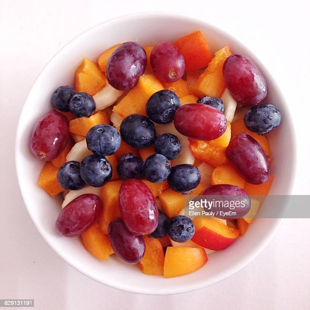 Directly Above Shot Of Fruit Salad In Bowl At Table