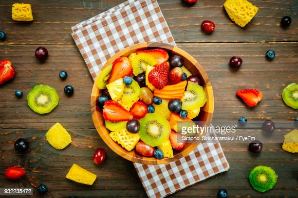 Directly Above Shot Of Fruit Salad In Bowl On Table