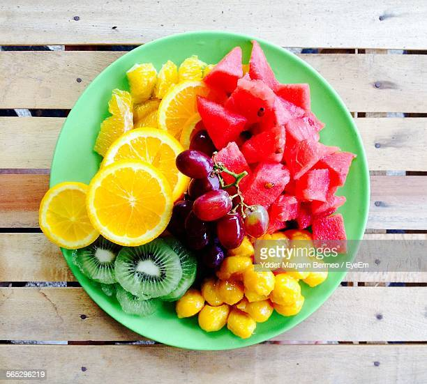 Directly Above Shot Of Fruit Salad In Bowl