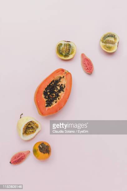 directly above shot of fruits against white background - guayaba fotografías e imágenes de stock