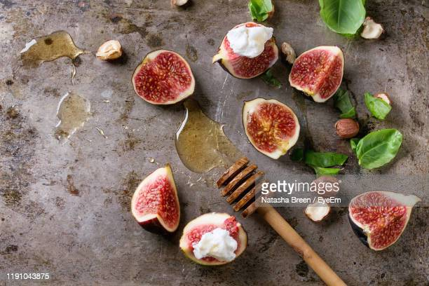 directly above shot of fruits on table - fig stock pictures, royalty-free photos & images