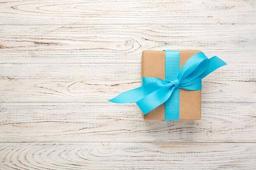 Directly Above Shot Of Gift Box On Wooden Table - gettyimageskorea
