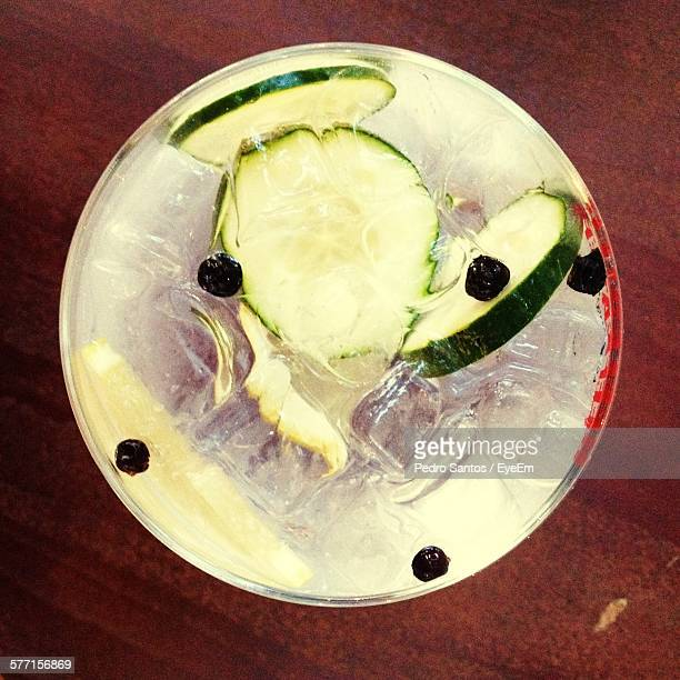 Directly Above Shot Of Gin Served On Table