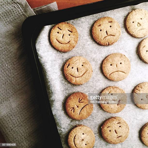 Directly Above Shot Of Gingerbread Cookies Decorated With Faces