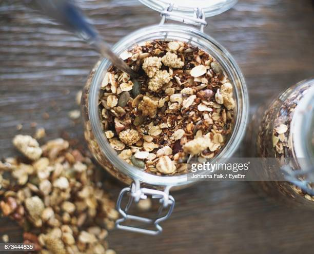 Directly Above Shot Of Granola In Jar On Table