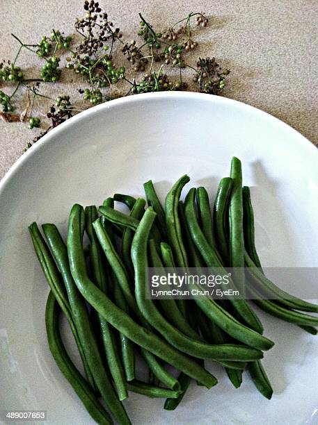 directly above shot of green beans in plate - bush bean stock photos and pictures
