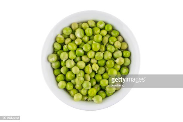 Directly Above Shot Of Green Peas In Bowl On White Background