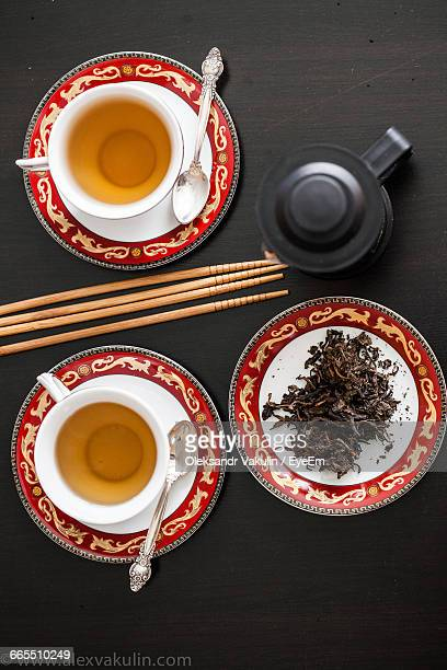 Directly Above Shot Of Green Tea Served On Table