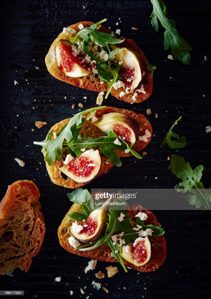 Directly above shot of healthy open faced sandwich : Stockfoto