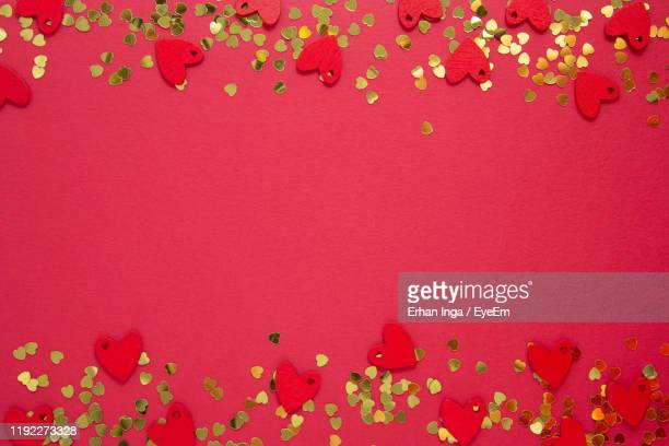 directly above shot of heart shape cutouts - shiny stock pictures, royalty-free photos & images
