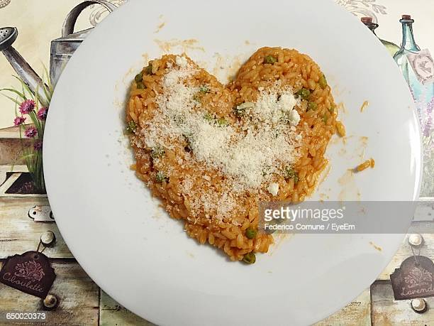Directly Above Shot Of Heart Shape Risotto In Plate
