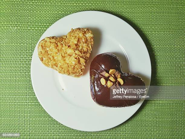 Directly Above Shot Of Heart Shaped Cookies On Plate