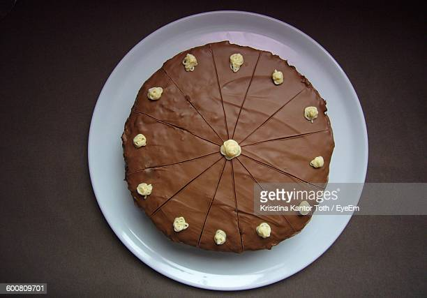 directly above shot of homemade chocolate cake in plate - chocolate cake above stock pictures, royalty-free photos & images