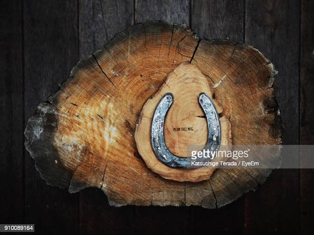 Directly Above Shot Of Horseshoe On Wooden Table