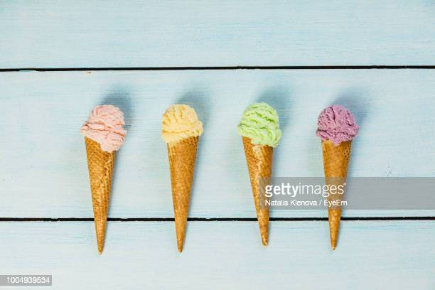 Directly Above Shot Of Ice Cream Cones On Table