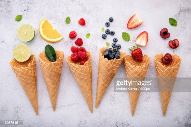 directly above shot of ice creams with various fruits on table,bengaluru,karnataka,india - images stock pictures, royalty-free photos & images