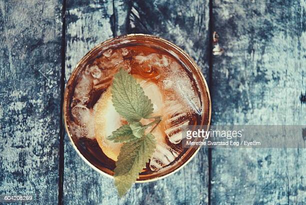 Directly Above Shot Of Ice Tea On Table
