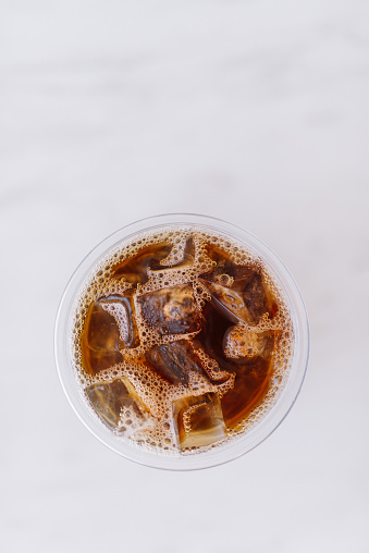 Directly Above Shot Of Iced Coffee Over White Background - gettyimageskorea