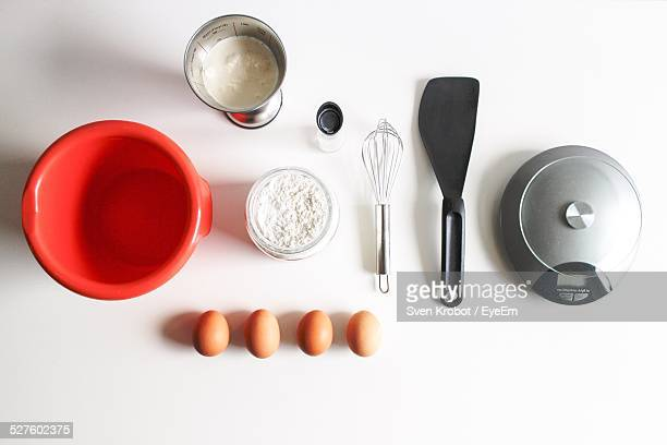 directly above shot of ingredients for making pancake - cooking utensil stock photos and pictures