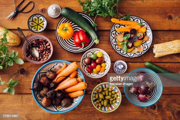 Directly above shot of ingredients in bowls arranged on table