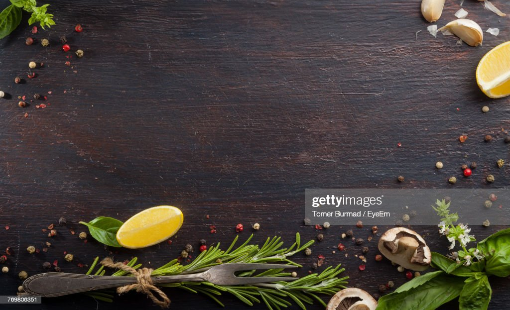 Directly Above Shot Of Ingredients On Table : Stock Photo