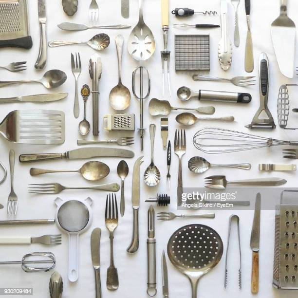 Directly Above Shot Of Kitchen Utensils On Table