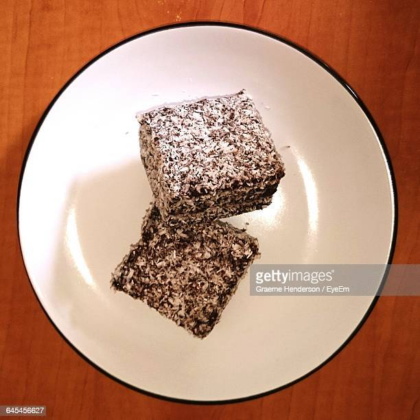 Directly Above Shot Of Lamington Cakes Served In Plate On Table