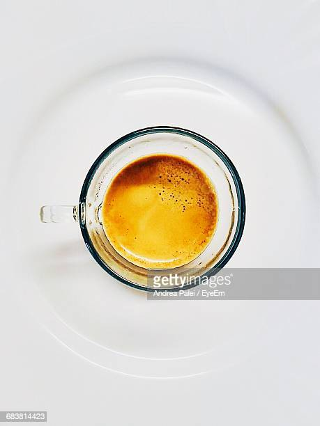 Directly Above Shot Of Leftovers Espresso Cup On White Background