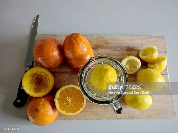 Directly Above Shot Of Lemon And Oranges On Table