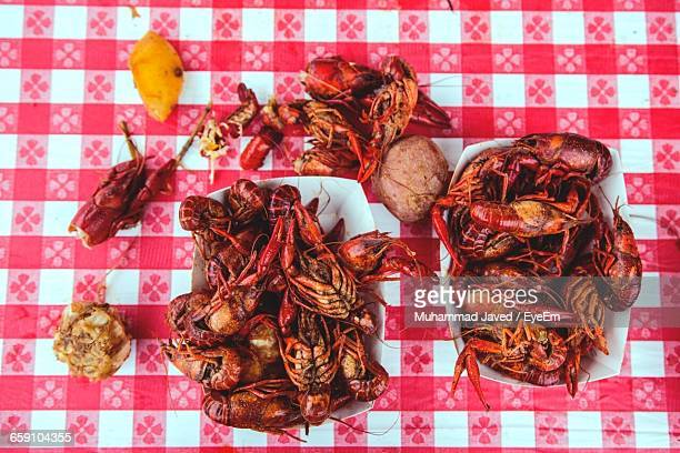 directly above shot of lobsters - new orleans stock photos and pictures