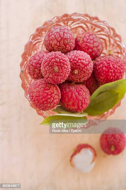 Directly Above Shot Of Lychees In Bowl On Table