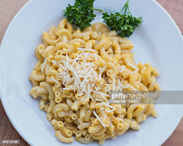 Directly Above Shot Of Macaroni And Cheese In Plate