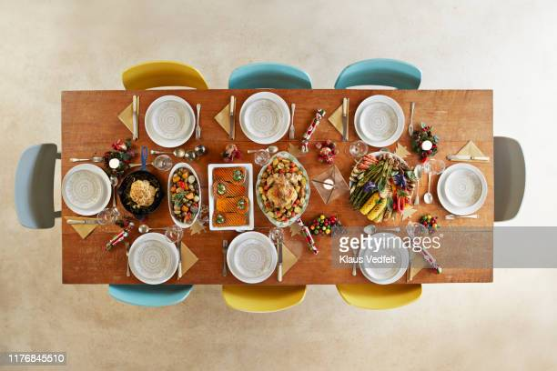 directly above shot of mainly vegan meal served on table - christmas still life stock pictures, royalty-free photos & images