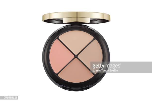 directly above shot of make-up product over white background - eyeshadow stock pictures, royalty-free photos & images
