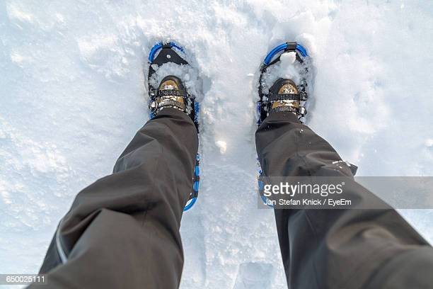 Directly Above Shot Of Man Snowshoeing On Snowcapped Mountain
