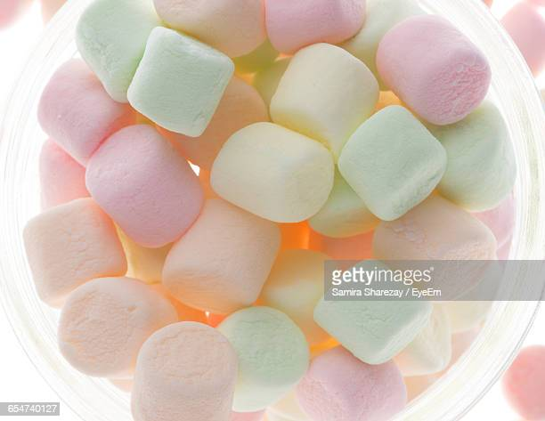 Directly Above Shot Of Marshmallows In Jar