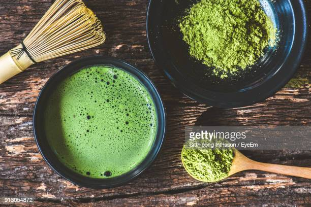 Directly Above Shot Of Matcha Tea In Bowl On Table