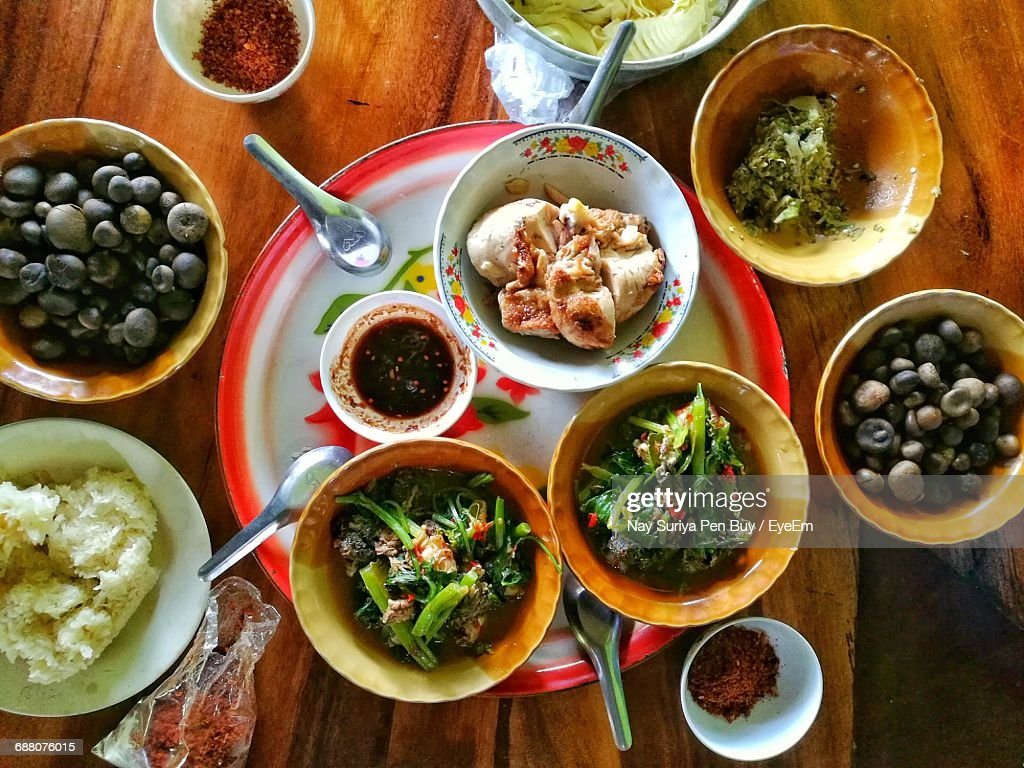 Directly Above Shot Of Meal Served On Table : Stock Photo