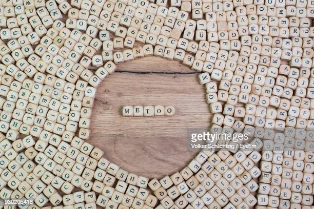 Directly Above Shot Of Metoo Text Amidst Wooden Cubes