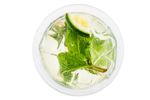 Directly Above Shot Of Mojito Glass On White Background - gettyimageskorea