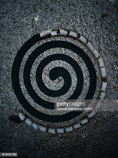 Directly Above Shot Of Mosquito Coil On Marble Floor