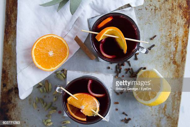 Directly Above Shot Of Mulled Wine On Table