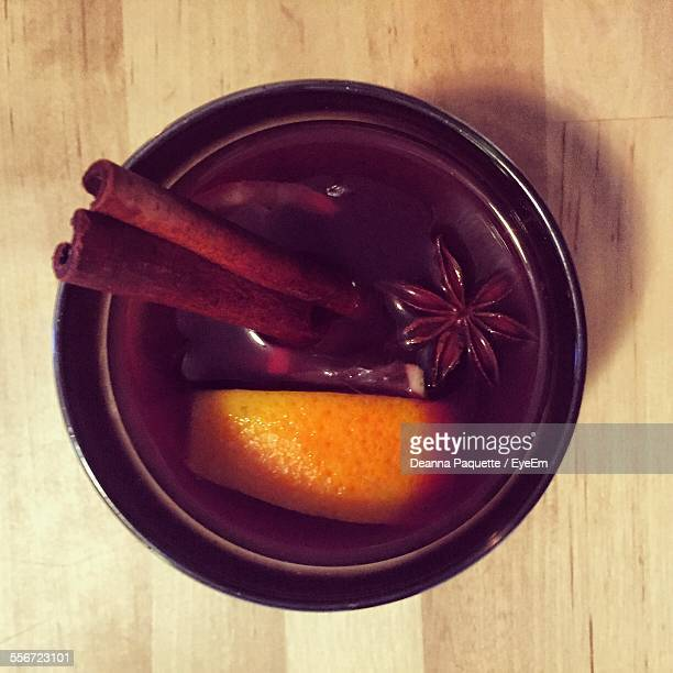 Directly Above Shot Of Mulled Wine Served On Table