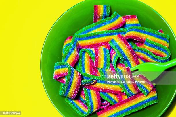 Directly Above Shot Of Multi Colored Candies In Plate