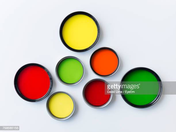 Directly Above Shot Of Multi Colored Paints Against White Background